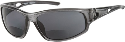 Angle of Ann Arbor #55831 in Grey with Smoke Lenses, Women's and Men's Sport & Wrap-Around Reading Sunglasses