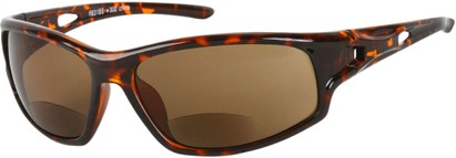 Angle of Ann Arbor #55831 in Tortoise with Amber Lenses, Women's and Men's Sport & Wrap-Around Reading Sunglasses