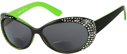 Angle of SW Rhinestone Bifocal Style #54853 in Black/Green, Women's and Men's