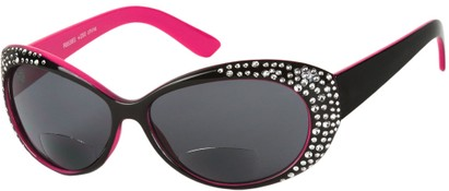 Angle of SW Rhinestone Bifocal Style #54853 in Black/Pink, Women's and Men's