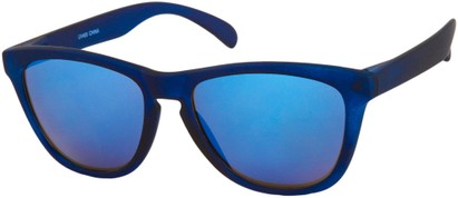 Angle of Asher #763 in Blue Frame with Blue Mirrored Lenses, Women's and Men's Retro Square Sunglasses