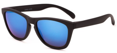 Angle of Asher #763 in Black Frame with Blue Mirrored Lenses, Women's and Men's Retro Square Sunglasses