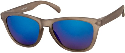 Angle of Asher #763 in Brown Frame with Blue Mirrored Lenses, Women's and Men's Retro Square Sunglasses