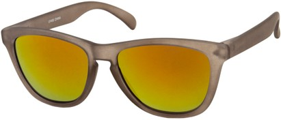 Angle of Asher #763 in Brown Frame with Orange Mirrored Lenses, Women's and Men's Retro Square Sunglasses
