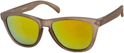 Angle of Asher #763 in Brown Frame with Yellow Mirrored Lenses, Women's and Men's Retro Square Sunglasses