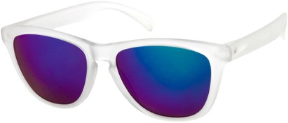 Angle of Asher #763 in Clear Frame with Green Mirrored Lenses, Women's and Men's Retro Square Sunglasses