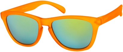 Angle of Asher #763 in Orange Frame with Yellow Mirrored Lenses, Women's and Men's Retro Square Sunglasses