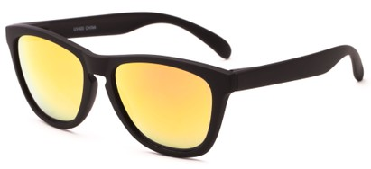 Angle of Asher #763 in Black Frame with Orange Mirrored Lenses, Women's and Men's Retro Square Sunglasses