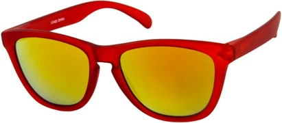 Angle of Asher #763 in Red Frame with Orange Mirrored Lenses, Women's and Men's Retro Square Sunglasses