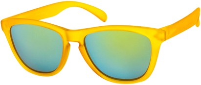 Angle of Asher #763 in Yellow Frame with Yellow Mirrored Lenses, Women's and Men's Retro Square Sunglasses