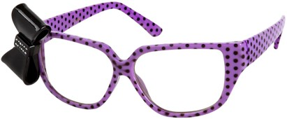 Angle of SW Clear Bow Style #144 in Purple Polka Dot Frame with Black Bow, Women's and Men's