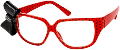 Angle of SW Clear Bow Style #144 in Red Polka Dot Frame with Black Bow, Women's and Men's