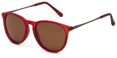 Angle of Cumberland #2861 in Matte Red Frame with Amber Lenses, Women's and Men's Round Sunglasses