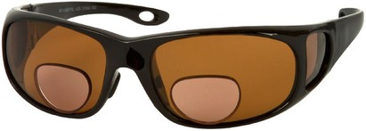 Angle of Huron #51009 in Glossy Black Frame with Amber Lenses, Women's and Men's Square Reading Sunglasses