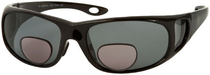 Angle of Huron #51009 in Glossy Black Frame with Smoke Lenses, Women's and Men's Square Reading Sunglasses