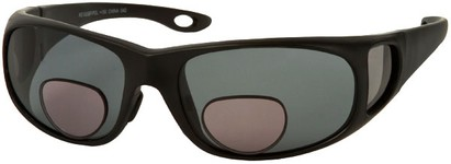 Angle of Huron #51009 in Matte Black Frame with Smoke Lenses, Women's and Men's Square Reading Sunglasses