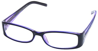 Angle of SW Clear Style #2902 in Black and Purple Frame, Women's and Men's