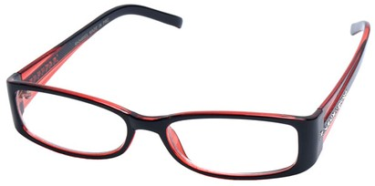 Angle of SW Clear Style #2902 in Black and Red Frame, Women's and Men's