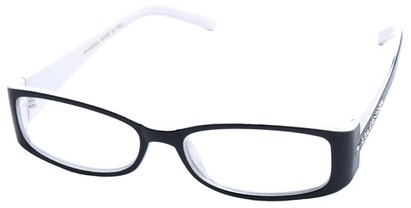 Angle of SW Clear Style #2902 in Black and White Frame, Women's and Men's