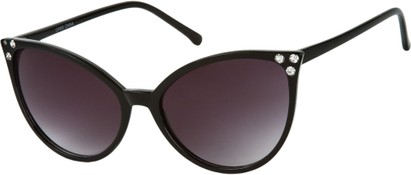 Angle of SW Rhinestone Cat Eye Style #2925 in Black Frame with Smoke Lenses, Women's and Men's