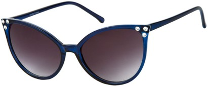 Angle of SW Rhinestone Cat Eye Style #2925 in Blue Frame with Smoke Lenses, Women's and Men's