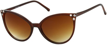 Angle of SW Rhinestone Cat Eye Style #2925 in Brown Frame with Amber Lenses, Women's and Men's