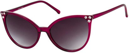 Angle of SW Rhinestone Cat Eye Style #2925 in Purple Frame with Smoke Lenses, Women's and Men's