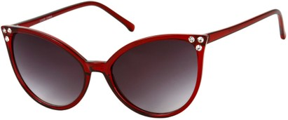 Angle of SW Rhinestone Cat Eye Style #2925 in Red Frame with Smoke Lenses, Women's and Men's