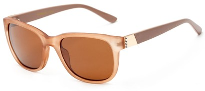 Angle of Savoy #3866 in Translucent Brown Frame with Amber Lenses, Women's Retro Square Sunglasses