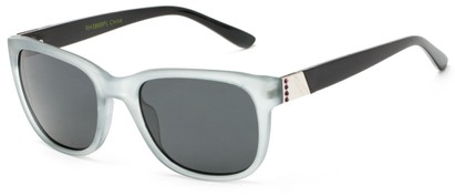 Angle of Savoy #3866 in Translucent Grey Frame with Smoke Lenses, Women's Retro Square Sunglasses