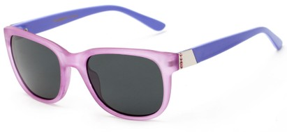 Angle of Savoy #3866 in Translucent Purple Frame with Smoke Lenses, Women's Retro Square Sunglasses