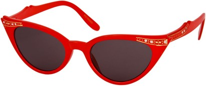 Angle of SW Rhinestone Cat Eye Style #4890 in Solid Red Frame, Women's and Men's