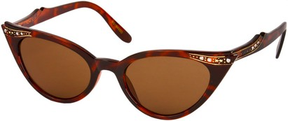 Angle of SW Rhinestone Cat Eye Style #4890 in Brown Tortoise Frame, Women's and Men's