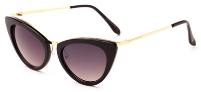Angle of Saffron #3149 in Black/Gold Frame with Smoke Lenses, Women's Cat Eye Sunglasses