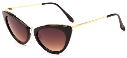Angle of Saffron #3149 in Black/Gold Frame with Amber Lenses, Women's Cat Eye Sunglasses