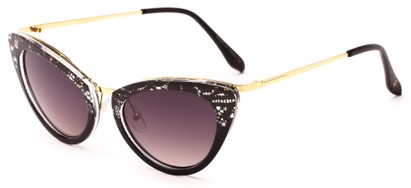 Angle of Saffron #3149 in Black Lace/Gold Frame with Smoke Lenses, Women's Cat Eye Sunglasses