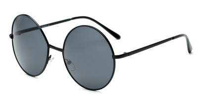 Angle of Rainier #244 in Black Frame with Smoke Lenses, Women's and Men's Round Sunglasses