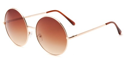 Angle of Rainier #244 in Gold Frame with Brown Fade Lenses, Women's and Men's Round Sunglasses