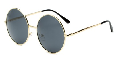Angle of Rainier #244 in Gold Frame with Grey Lenses, Women's and Men's Round Sunglasses