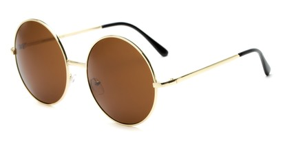 Angle of Rainier #244 in Gold Frame with Amber Lenses, Women's and Men's Round Sunglasses