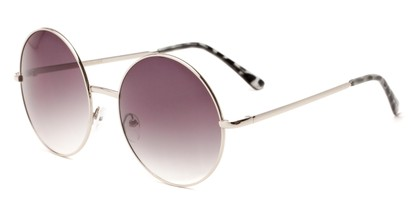 Angle of Rainier #244 in Silver Frame with Smoke Lenses, Women's and Men's Round Sunglasses