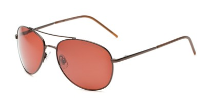 Angle of Ranger #1680 in Bronze Frame with Copper Lenses, Women's and Men's Aviator Sunglasses
