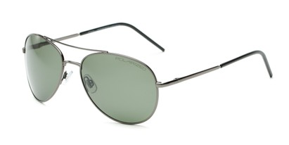 Angle of Ranger #1680 in Grey Frame with Green Lenses, Women's and Men's Aviator Sunglasses