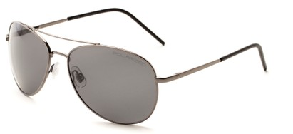 Angle of Ranger #1680 in Grey Frame with Grey Lenses, Women's and Men's Aviator Sunglasses