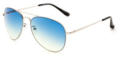 Angle of Reef in Silver Frame with Blue/Yellow Lenses, Women's and Men's Aviator Sunglasses