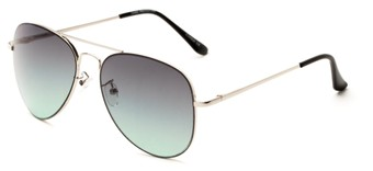 Angle of Reef in Silver Frame with Grey/Green Lenses, Women's and Men's Aviator Sunglasses