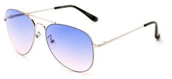 Angle of Reef in Silver Frame with Purple/Pink Lenses, Women's and Men's Aviator Sunglasses