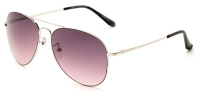 Angle of Reef #6250 in Silver Frame with Rose Smoke Lenses, Women's and Men's Aviator Sunglasses