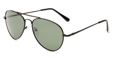 Angle of Rift #2000 in Matte Black Frame with Green Lenses, Women's and Men's Aviator Sunglasses