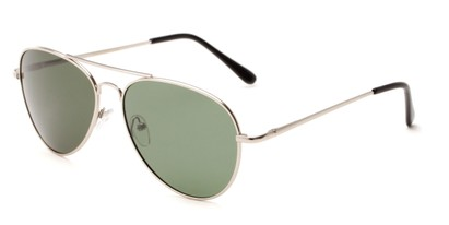 Angle of Rift #2000 in Matte Silver Frame with Green Lenses, Women's and Men's Aviator Sunglasses